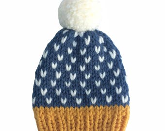Hat, woolly hat, knitted hat, beanie, bobble hat, winter hat, pom pom, chunky wool, blue with white chevrons and mustard edge