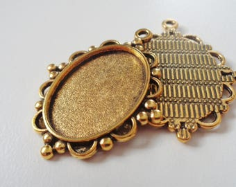 2 - Gold Plated Oval Cabochon Base Settings