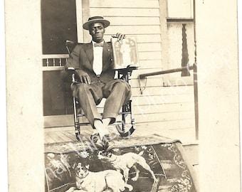 Vintage Photograph, RPPC African American Identified Man