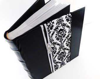 Wedding Photo Album Damask Wedding Album 200 Pictures 4x6 Photo Album Black White Damask Bridal Shower Gift Faux Leather Rhinestone Hearts Z