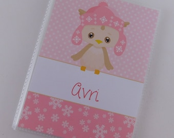 Christmas Photo Album Penguin Pink Baby Girl Brag Book Holiday gift personalized 4x6 or 5x7 picture My First Christmas Custom 693