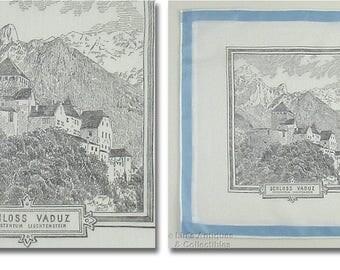 Schloss Vaduz Vaduz Castle Leichtenstein Vintage Travel Souvenir Hanky  (Inventory #M4652