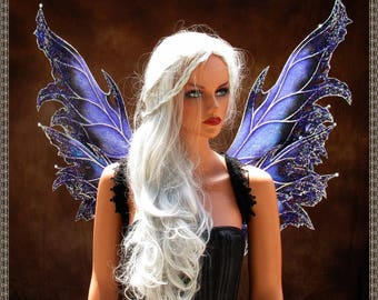 Adult Fairy Wings**Iridescent Purple/Black/Silver**FREE SHIPPING**Costume/Masquerade/Cosplay/Weddings/Renn Faires/Photo shoots