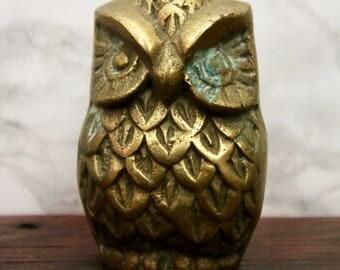 Vintage Brass Owl Paperweight Trinket Figurine