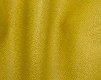 "Mellow Mustard Yellow Leather Cow Hide 8"" x 10"" Pre-cut 3 - 3 1/2 oz BR-64359 (Sec. 3,Shelf 3,A)"