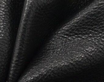 "Mountain Coal Black Leather New Zealand Deer Hide 8""x 10"" Pre-cut 3-4 ounces-16 DE-66127 (Sec. 4,Shelf 2,B)"