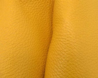 "NZ Deer Sale Rustic Hello Yellow Leather New Zealand Deer Hide 12"" x 12"" Pre-cut 3-4 ounces-31 DE-66174 (Sec. 5,Shelf 7,B)"