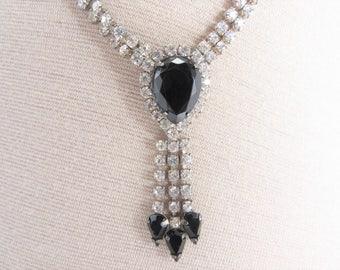 Vintage Clear Rhinestone Necklace Black Center Drop Dangles
