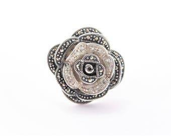 Large Vintage Sterling Marcasite Rhinestone Rose Flower Ring Size 10