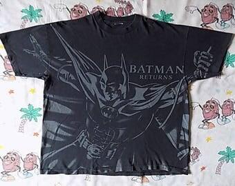 Vintage 90's Batman Returns all over print T shirt, size L/XL 1991 DC Comics SSI