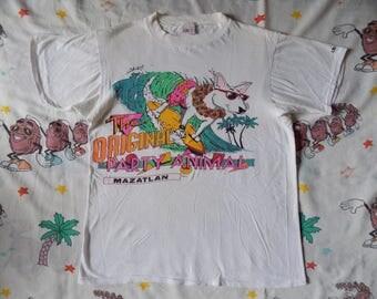 Vintage 80's Spuds Mackenzie bootleg T shirt, size Small Mazatlan souvenir The Original Party Animal