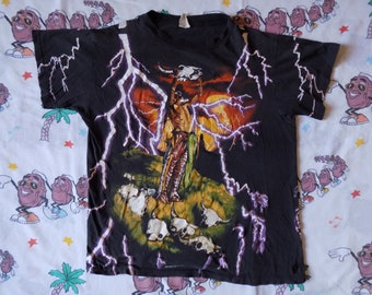 Vintage 90's American Thunder all over print T shirt, size Medium soft and thin Thrashed biker