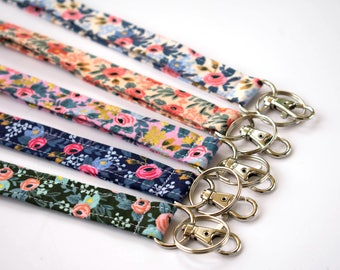 Stocking Stuffer, Girly Lanyard, Floral Lanyard, Cute ID Holder, Girl Lanyard, Boho Gift, Floral Fabric