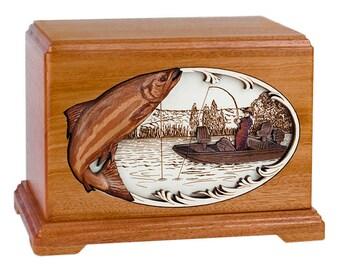 Mahogany Salmon Boat Fishing Hampton Wood Cremation Urn