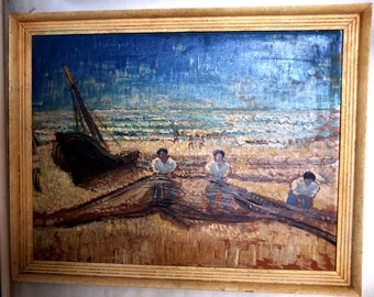 Oil Painting of English Fishermen with Nets (1950s)