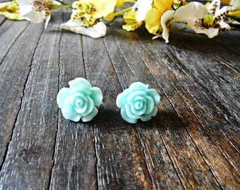 Mint Green Rose Stud Earrings Flower Plastic Resin Tiny Floral Post Bohemian Jewelry Nickel Free Metal Surgical Steel Pin Boho Romantic Stud