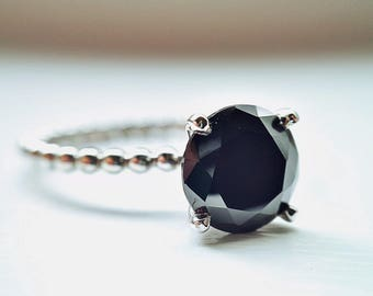 Black Ring, Black Engagement Ring, Black Onyx, Promise Ring, Solitaire Ring, Beaded Ring, Crafted to Order