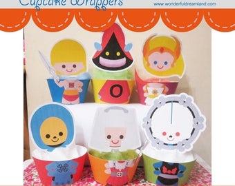 50% OFF Superhero Villain Cupcake Wrappers - PDF Instant Download Printable Digital File