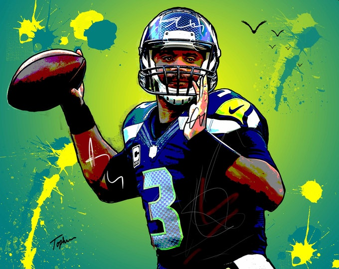 "Featured listing image: Limited Edition Print.  "" Russell Wilson "" Digital Art, Wall art, painting. print, Acrylic painting."