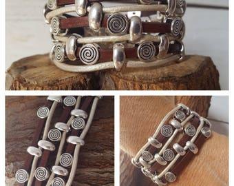 Cowgirl leather Bracelet, beaded leather Bracelet, Spiral, Boho, woman leather Bracelet