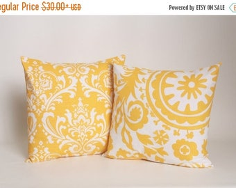 On Sale July Only PAIR Corn Yellow Pillow Covers Designed to Fit 14, 16, 18, 20 or 22 Inch Standard Pillow Inserts in Premier Prints Ozborne