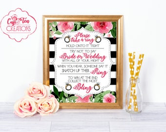 Bridal Shower Ring Game, Put a Ring on It Game, Bling Game, Bridal Shower Games, Printable Ring Game Sign