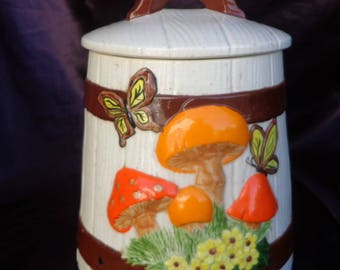COOKIE JAR / Canister  Barrel with Mushrooms, Butterflies, daisies, 1976