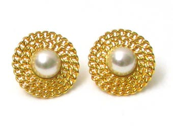 EDOUARD RAMBAUD earrings, gold tone and Pearl vintage