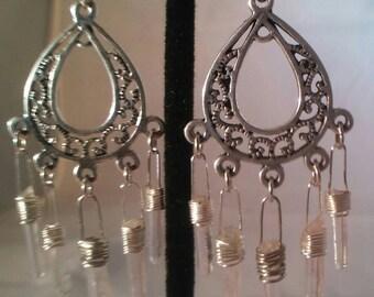 Quartz crystal chandelier earrings, popular earrings, crystal earrings, trendy earrings, dangle earrings, boho earrings, fashion earrings.