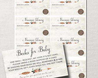 Books for Baby Request AND Book Plate ~ Double-sided Insert ~ Rustic Bohemian Tribal ~Custom DIY Printable