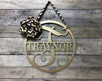 Family Signs, Family Name, Metal Monogram Door Hanger,  Custom Last NAME sign, Front Door WREATH ,Personalized Gift, over 70 colors