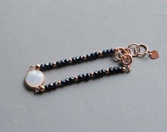 Black Spinel Rose Gold  Bracelet,Moonstone,925 Sterling Silver ,Gemstone Bracelet,Crystal Healing,Spiritual,Fertility