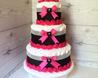 Pink and Black Girl Diaper Cake Centerpiece, Girl Baby Shower Decorations, Chic Diaper Cake