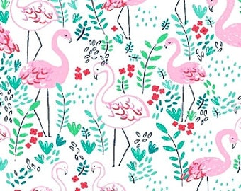 Fabric, Lets Flamingle, Pink Flamingos on White, Dear Stella, Lifes a Beach, By The Yard