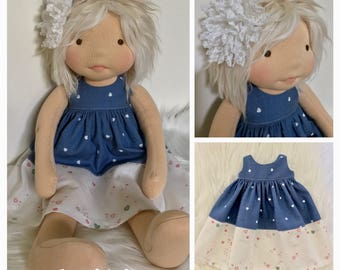 SALE Waldorf doll dress and hairclip 15-19""