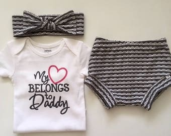 "NEW! ""My Heart Belongs to Daddy""/Charcoal and White Lace/Infant Shorties Set/Toddler Shorties Set"