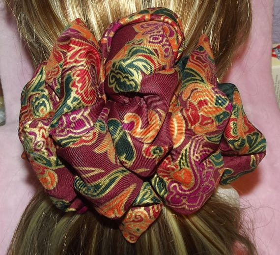 Becky Bows ~OOAK ROSETTE Barrette Hand crafted giant huge Scarf BIG hair bow Women or Girls burgundy green gold