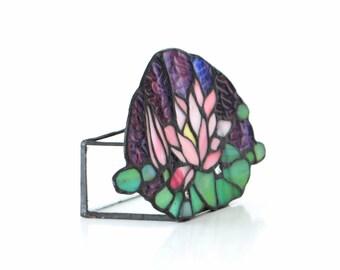 Vintage Tiffany candle holder lantern German 1960s glass art decor purple green glass box