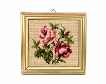 Embroidery wall hanging, framed embroidery, roses embroidery, flower embroidery, vintage tapestry