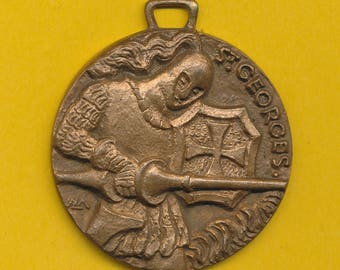 Large bronze Art Deco Religious Medal representing Saint George slaying the dragon - St Georges (Ref 0877)