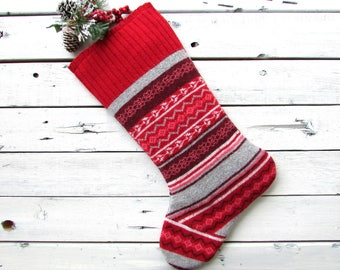 Knitted christmas stocking, knit christmas stocking, knit christmas stockings, cut and sewn from a vintage sweater red