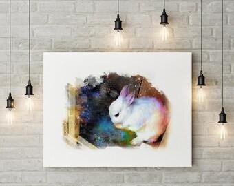 Bunny Giclée Print - bunny print for nursery | baby wall decor | bunny picture nursery | kids wall art | kids wall decor | pet picture gift