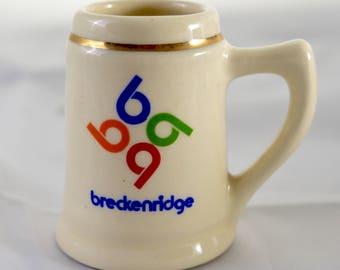 VTG Breckenridge Four B's Logo Shot Glass Vintage Ski Resort Town Gear