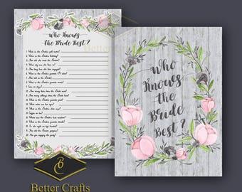 Bridal Shower Game Download, Who Knows the Bride Best, diy Bridal Shower Printables