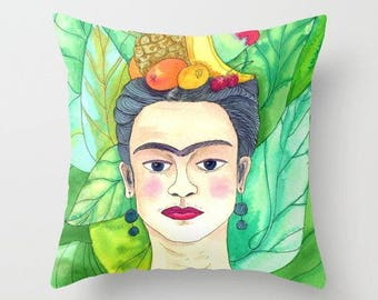 Frida Kahlo Throw Pillow, Fruit and Frida, tropical, colorful illustration,  cushion, cute, sofa, bed, dorm, be yourself, colorful