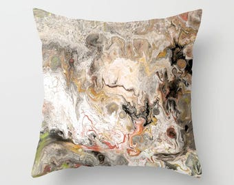 Earth Tone Marble decorative Throw Pillow,  paint swirls,  abstract, modern, sophisticated,  beautiful chic decor