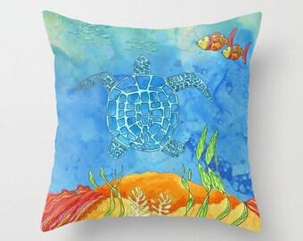 Sea Turtle Throw Pillow , undersea, ocean, fish, colorful, reef, coastal, throw pillow, cushion, cute, sofa, bed, dorm