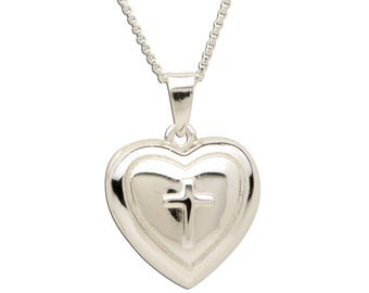 Sterling Silver Cross Locket Charm Necklace with Gift Box for First Communion Gift  (BCN-Locket-Cross)
