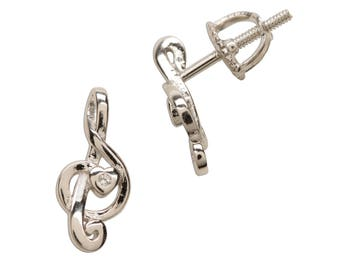 Sterling Silver Music Note Earrings for Girls with Screw Backs (SSE-Music Note)