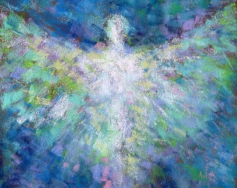 Peace Angels - ORIGINAL Abstract Pastel Painting of an Angel by Belinda Elliott